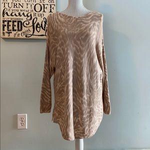 CHAPS Animal Print Cotton/Modal Light Knit Tunic